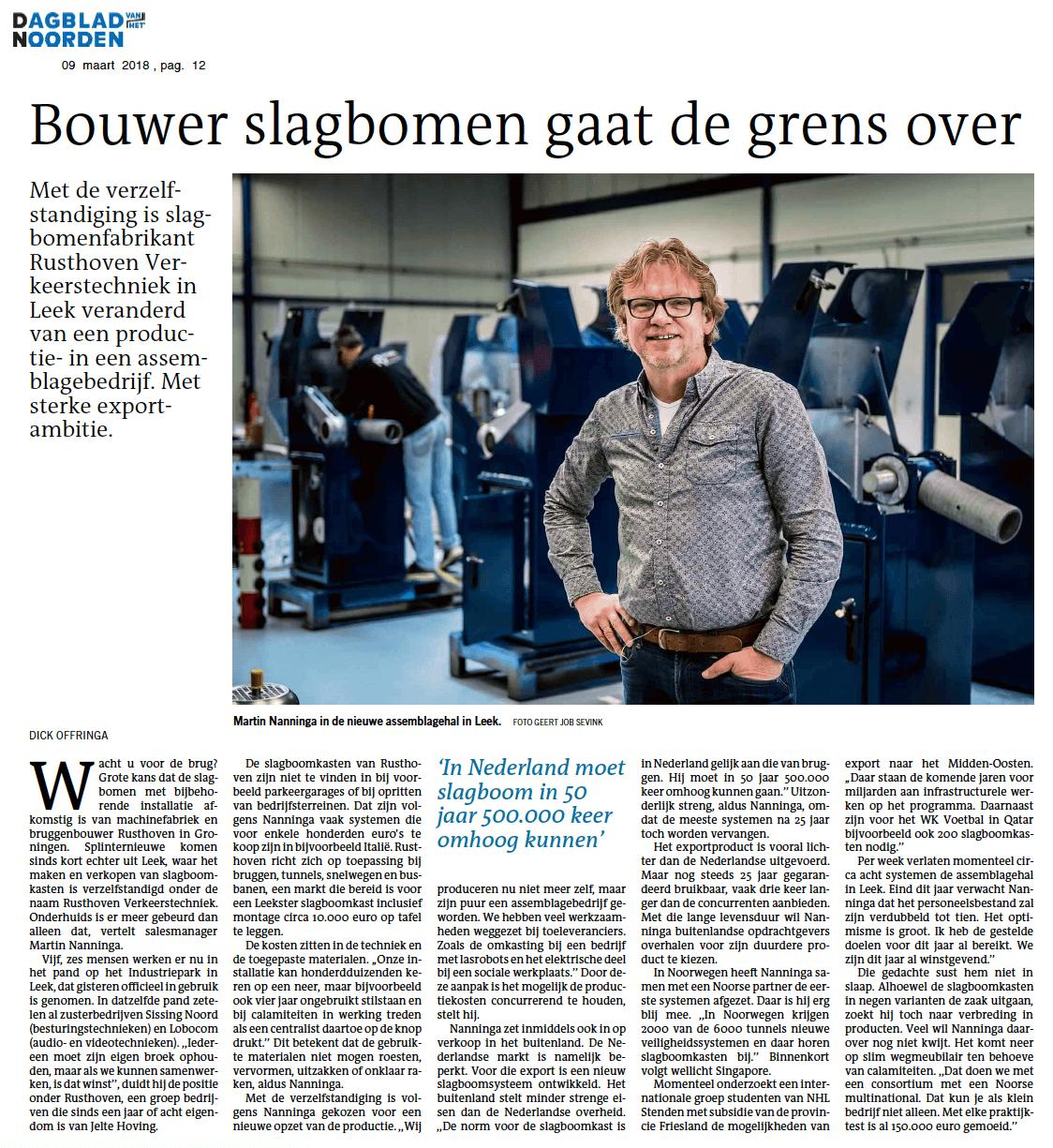 Artikel (DvhN) Rusthoven Verkeerstechniek